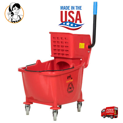 36 Qt Lavex Commercial Heavy-duty Wet Mop Bucket Wringer Combo, Janitorial Red