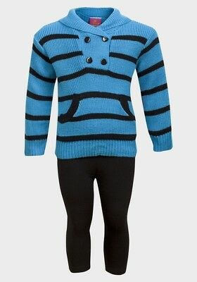 Girls  Turquoise & Black Striped Jumper & Legging Outfit Age 12M,2T,3T,4T,5/6,6X