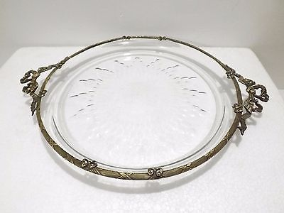 Antique French Round Bronze Crystal Tray