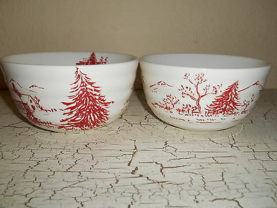3pc MAXCERA Christmas Holiday Toile Red Dinnerware Soup Bowls & 3pc MAXCERA Christmas Holiday Toile Red Dinnerware Soup Bowls ...