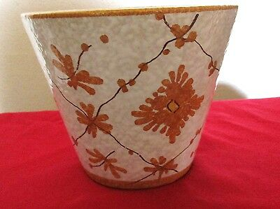 Vintage Mid Century Modern Italian White And  Orange Glaze Ceramic Planter