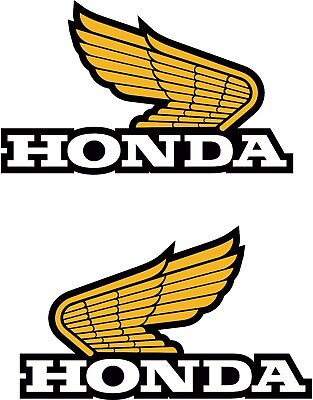 2 x Honda Wings decal sticker Motorbike Scooter Motorcycle White & Gold 85mm