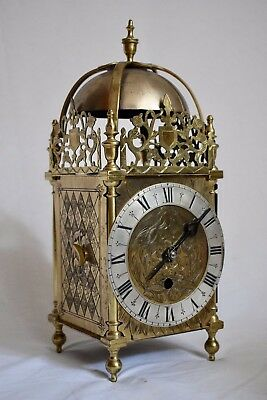 "Antique Large 14.5"" Tall Single Fusee Single Handed Brass Lantern Clock"