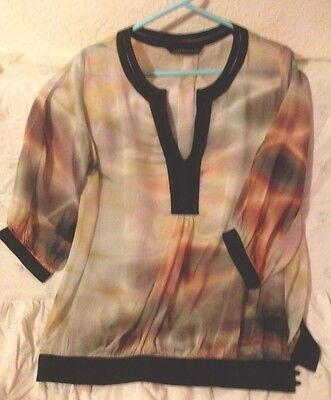 Vintage  Zara   PURE SILK  Multi Colour Sz 14