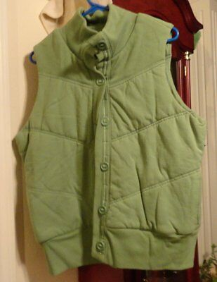 XL Ladies Womens Old Navy ON Vest Green Puffer Quilted Knit Button Pockets Lined
