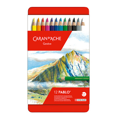 Caran D'Aache Pablo Permanent Colour Pencils Tin of 12 Assorted Coloured Pencil