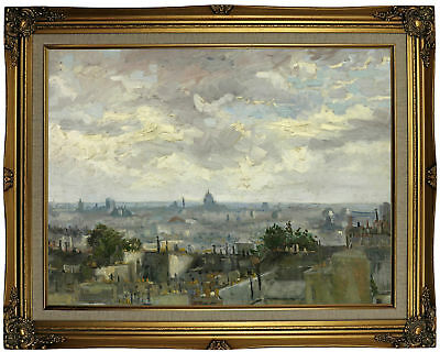 van Gogh View of Paris 1886 Framed Canvas Print Repro 18x24