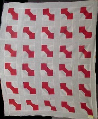 Red And White Antique Bow Tie Quilt Top #13300