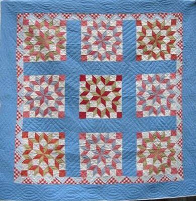 "Antique ""carpenters Wheel"" Quilt On Blue Background With Red, #16918"