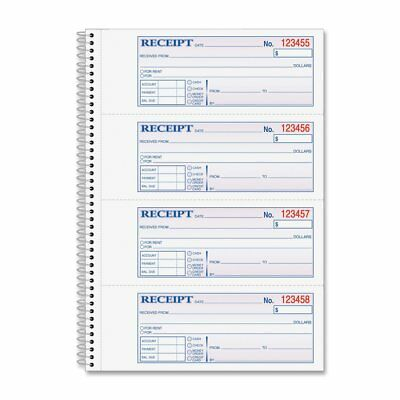Adams Money and Rent Receipt Book, 2-Part Carbonless, 2.75 x 7.13 Inch Detached