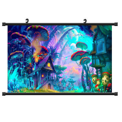 Psychedelic Mushroom Town Poster Picture Silk Cloth Home Wall Decor Art