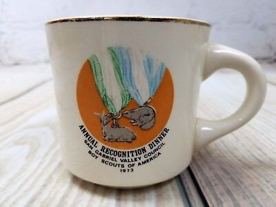 VTG Boy Scouts BSA San Gabriel Annual Dinner 1973 Coffee Cup Deer Beaver Medal