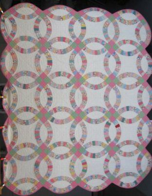 Antique Double Wedding Ring Quilt #17732