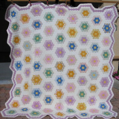 Antique Extra Large Flower Garden Quilt With Lavender Borders  #17854