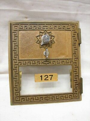 Vintage USPS Greek Key Mail Post Office Box Door US Brass American Lock PO 127