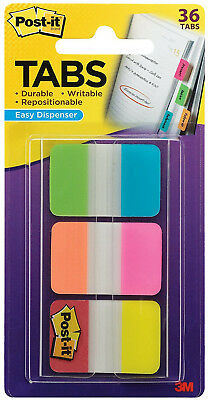 "3M Post It Tabs 1"" x 1.5"" Writable Repositionable 6 Full Bright Colors 36pk"