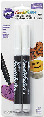 Wilton FoodWriter Edible Color Markers Fine & Bold Tip Black Markers