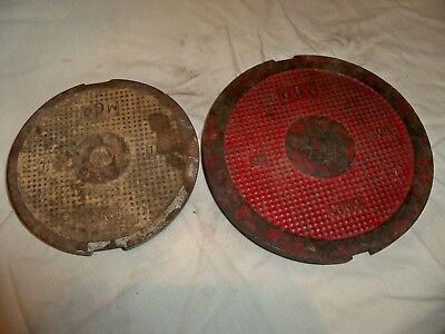 Lot of 2 Vintage OPW Cast Iron Round Manhole Cover Steampunk Man Cave Industrial