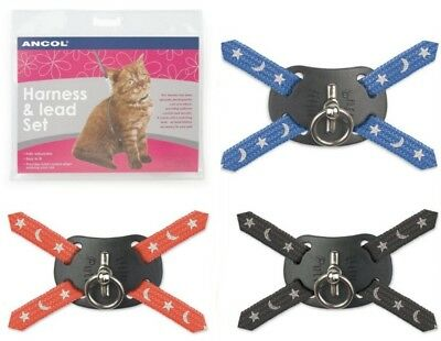 ANCOL Cat Harness & Lead Set Reflective Stars And Moon Design