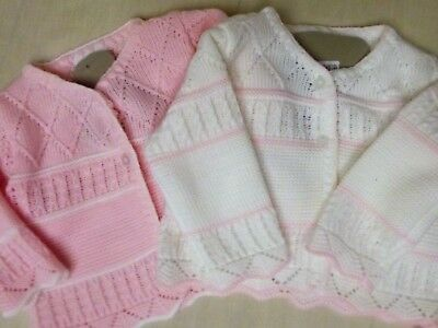 Dream Baby Girls Winter White & Pink Knitted Cardigan  0-9 Months Or Reborn Doll