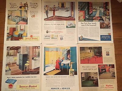 Vtg Mcm Home Print Ads Kohler American Standard Biglow Armstrong Youngstown