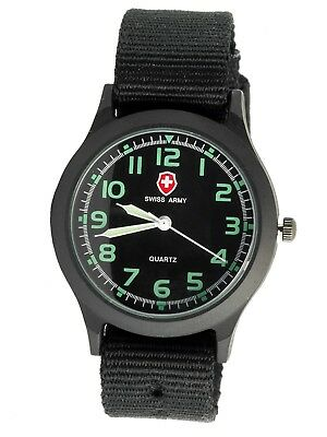 Black Tactical Field Ops  Military Swiss Army Canvas Band Luminous Hands Watch