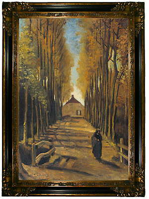 van Gogh Avenue of poplars in autumn 1884 Wood Framed Canvas Print Repro 19x28