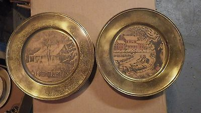 VINTAGE Lot of 2 Round Tin gold plated wall hanging pictures Winter Scenes ??