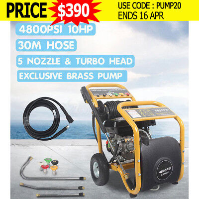 JET 4800 PSI High Pressure Washer Cleaner 10HP Water Petrol 30M Hose Gurney Pump