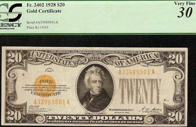 1928 $20 DOLLAR GOLD CERTIFICATE COIN NOTE CURRENCY PAPER MONEY Fr 2402 PCGS VF