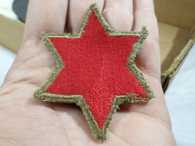 WWII VINTAGE US Army 6th Infantry Division Patch GREEN BACK