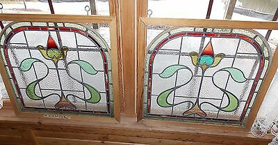 Pair Windows Stained Glass Leaded Arched Late 1800s England Wood Frame Hanging