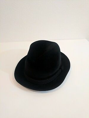 Vintage Mens Dobbs 5th Avenue New York Black Felt Fedora and BOX!