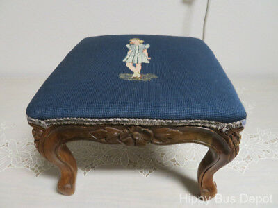 Victorian Era Needlepoint Young Girl Carved Queen Anne Footstool Ottoman