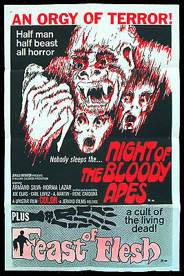 NIGHT OF THE BLOODY APES original US one sheet FEAST OF FLESH 1972 movie poster