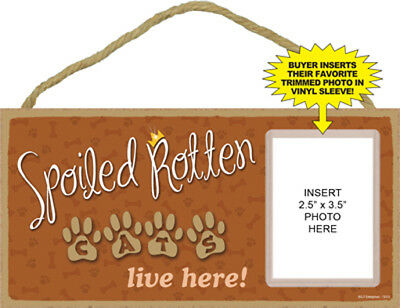 "Spoiled Rotten Cats Live Here Sign Plaque Dog 10"" x 5"" w/ vinyl sleeve picture"
