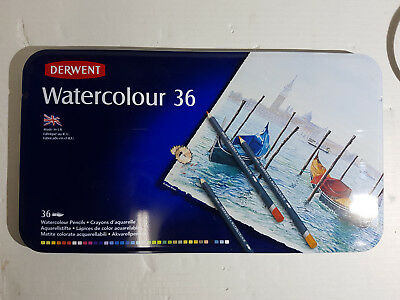 Derwent Watercolour 36 Colour Pencils Metal Case Tin - Made In The Uk Brand New!