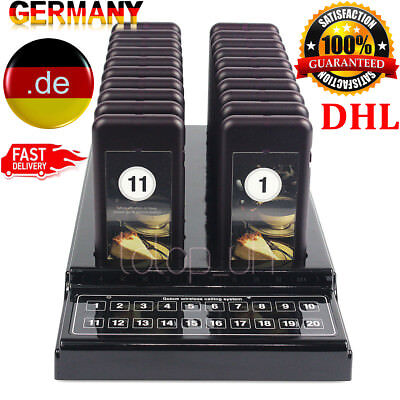 20 Restaurant Coaster Pager Guest Call Wireless Paging Queuing Calling System DE