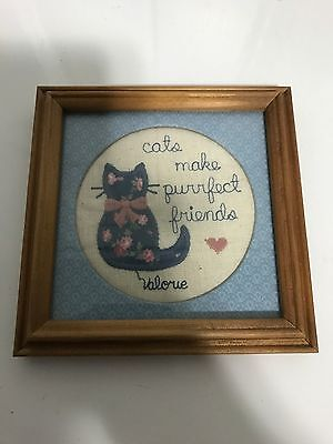 "Cats Cat Purrfect Friends 6"" Wall Art Wood Picture Frame Craft Knit Crochet"
