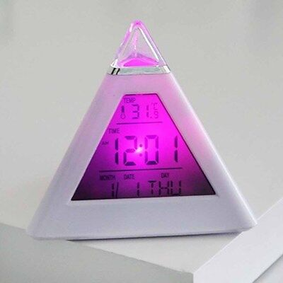 Pyramid LCD Digital Alarm Clock Desk Bed Thermometer Light 7 LED Color Changing