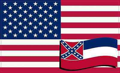 5 X 3 America and Mississippi Flag Magnet Vinyl Patriotic Decal Vehicle Magnets