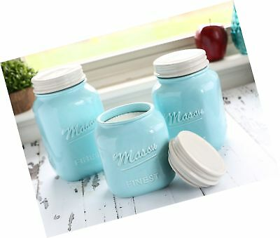 Mason Jar Kitchen Canister Set   Set Of 3 Kitchen Canisters   Large Round  Cer.