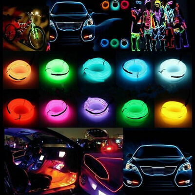 Neon LED Light Glow EL Wire String Strip Rope Car Party Dance Bike Clothes Shoe