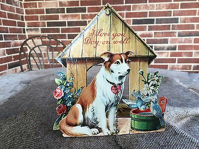 """Vintage 1930's German Embossed  Valentine Card,Collie Dog,Doghouse,Real Chain,6"""""""