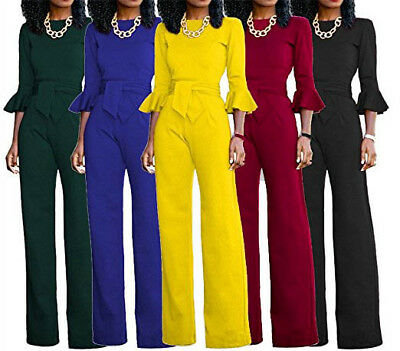 US Women Winter Clubwear O Neck Playsuit Bodycon Party Jumpsuit Long Pant Romper