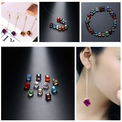 100pcs Crystal Quadrate Glass Ball  Loose Spacer Beads DIY Bracelet Necklace New