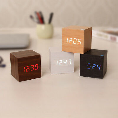 USB Cube Square Digital LED Alarm Clock Wooden Calendar Thermometer Decoration #