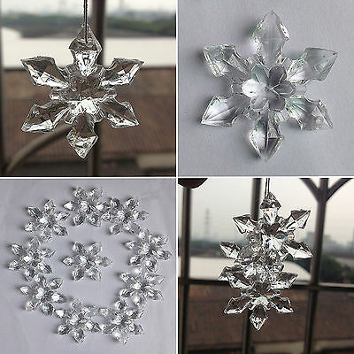 10pcs crystal christmas snowflakes ornaments party tree hanging decoration xmas - Crystal Christmas Decorations