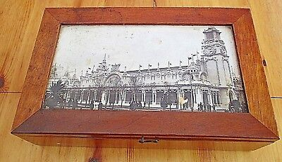 Large Antique Mahogany Box 1908 Inset Picture Of The Franco British Exhibition