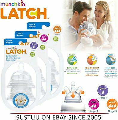 Munchkin Latch Baby Silicone Anti-Colic Wide Neck Teats│2 Pack│Stages 1, 2, 3│